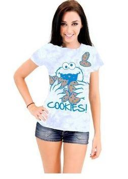 Sesame Street Cookie Monster Nom Nom Cookies Tie-Dye Blue Juniors T-Shirt