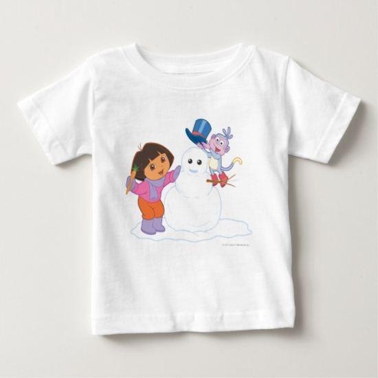 Dora The Explorer | Dora & Boots Make a Snowman Baby T-Shirt