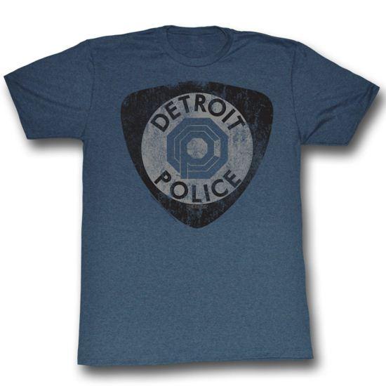 Robocop Shirt Detroit PD Adult Heather Blue Tee T-Shirt