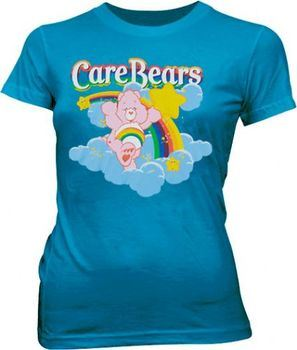 Care Bears Rainbow Bear Teal Juniors T-shirt