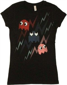 Pac-Man Ghosts Bolts Faded Baby Doll Tee