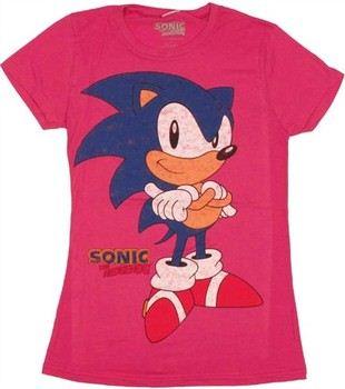 Sega Sonic the Hedgehog Arms Crossed Smirk Baby Doll Tee