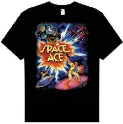 Space Ace Kids Size Poster Video Game Youth Black T-shirt