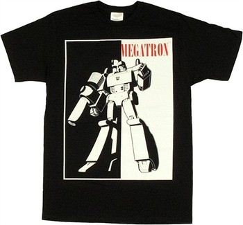 Transformers Megatron Silhouette Black White T-Shirt Sheer