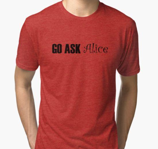 Jefferson Airplane White Rabbit Music Quotes Tri-blend T-Shirt by WordWorld T-Shirt
