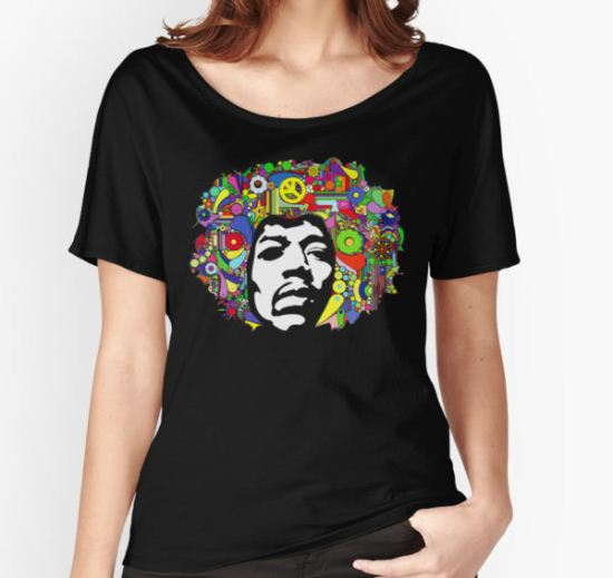Jimi Hendrix Color Blast Design Women's Relaxed Fit T-Shirt by David Bash T-Shirt