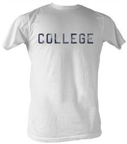 Animal House T-Shirt ? Distress College Adult White Tee