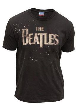 Junk Food The Beatles Paint Splatter Logo Washed Black Mens T-shirt