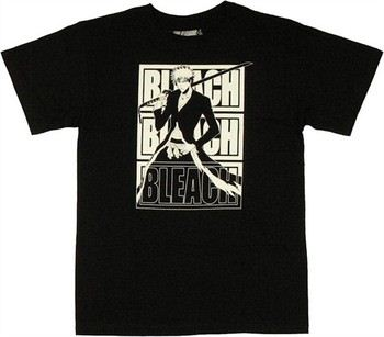 Bleach Ichigo Triple Bleach Name Frame T-Shirt