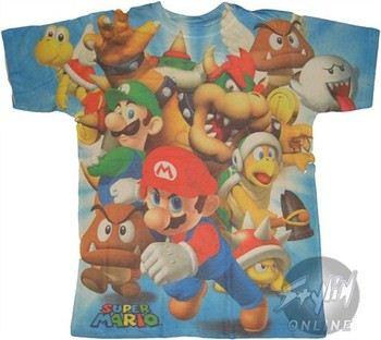 Super Mario 3D Group Full Print T-Shirt Photo Sheer