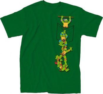 Teenage Mutant Ninja Turtles Pocket Adult Green T-Shirt