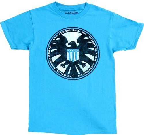 Marvel Comics S.H.I.E.L.D Logo Adult Turquoise T-Shirt