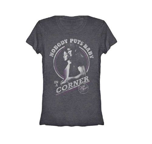 Dirty Dancing Baby in the Corner Distressed Heather Gray Juniors T-shirt
