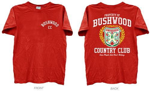 Caddyshack Bushwood CC Back Print Red Adult T-shirt