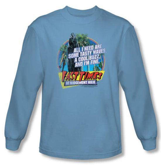 Fast Times At Ridgemont High Shirt Waves Carolina Blue Long Sleeve Tee