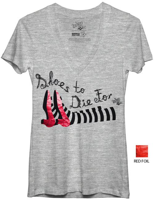 The Wizard Of Oz Shoes To Die For V-Neck Juniors Heather Gray T-Shirt