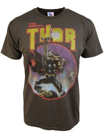 Junk Food The Mighty Thor Comic Steel Heather Adult T-shirt