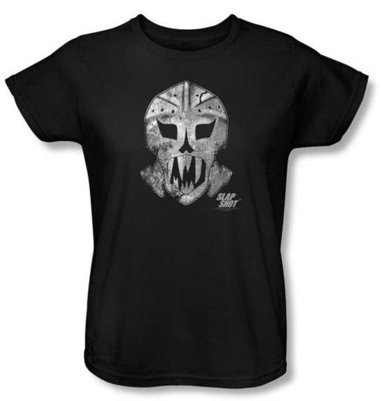 Slap Shot Ladies T-shirt Hockey Movie Goalie Mask Black Tee Shirt
