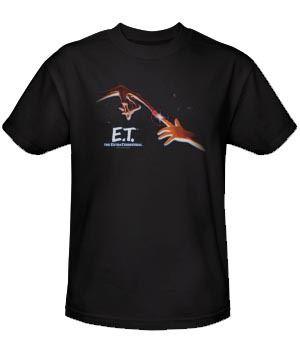 E.T. Extra Terrestrial Fingers Poster Adult Black T-shirt