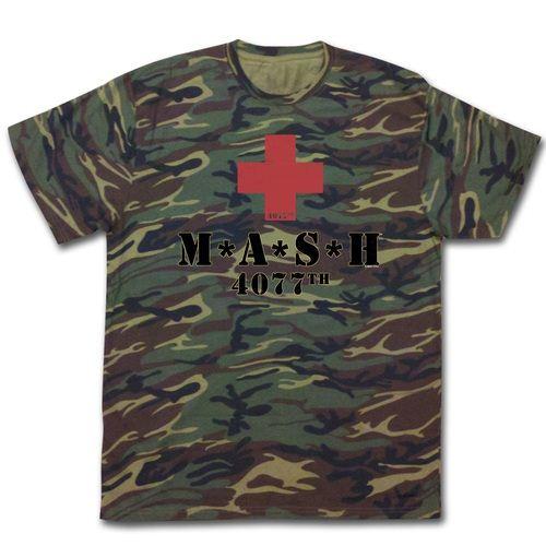 MASH TV Show American Flag In Logo Adult T Shirt