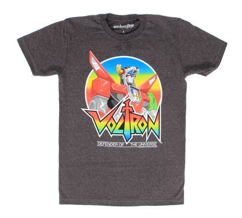 Voltron Defender of the Universe Adult Charcoal T-Shirt