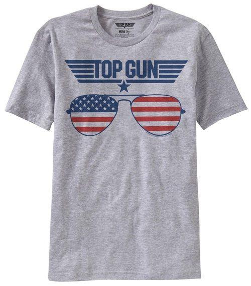Top Gun American Flag Sunglasses Adult Heather Gray T-Shirt