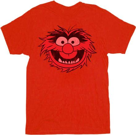 The Muppets Animal Face Red Adult T-shirt