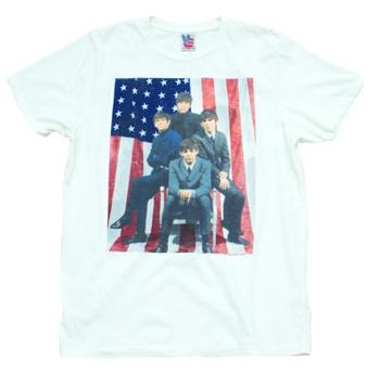 Junk Food The Beatles American Flag Sugar Adult Mens T-shirt