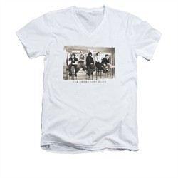 The Breakfast Club Shirt Slim Fit V Neck Club Mugs White Tee T-Shirt
