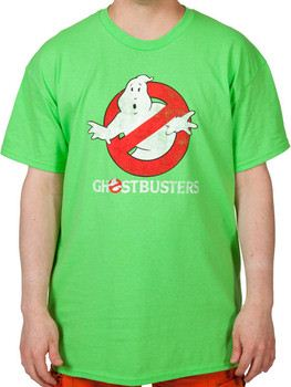 Lime Distressed Ghostbusters Logo Shirt
