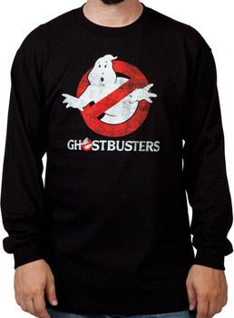 Distressed Ghostbusters Long Sleeve Logo Shirt