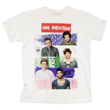 One Direction: One Direction Patchwork White T-Shirt - X-Large