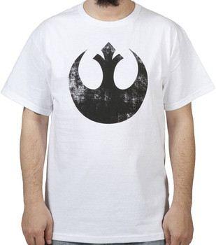 White Distressed Rebel Star Wars Shirt