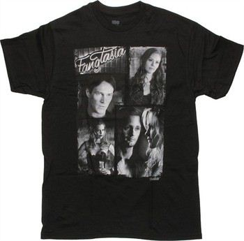 True Blood Grayscale Fangtasia Vampire Collage T-Shirt