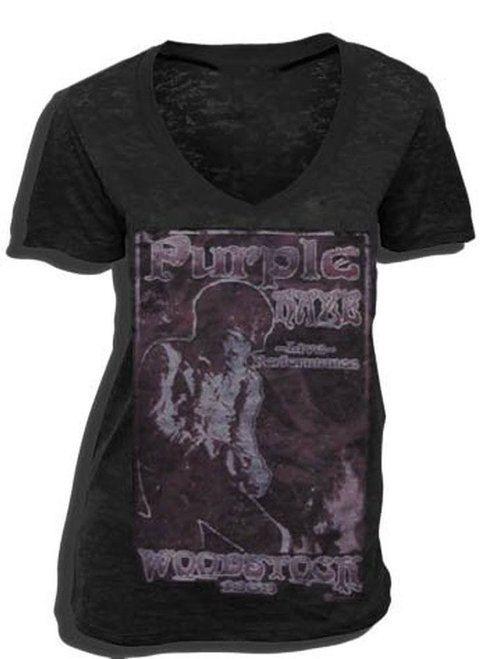 Jimi Hendrix Purple Haze Woodstock 1969 V-Neck T-shirt