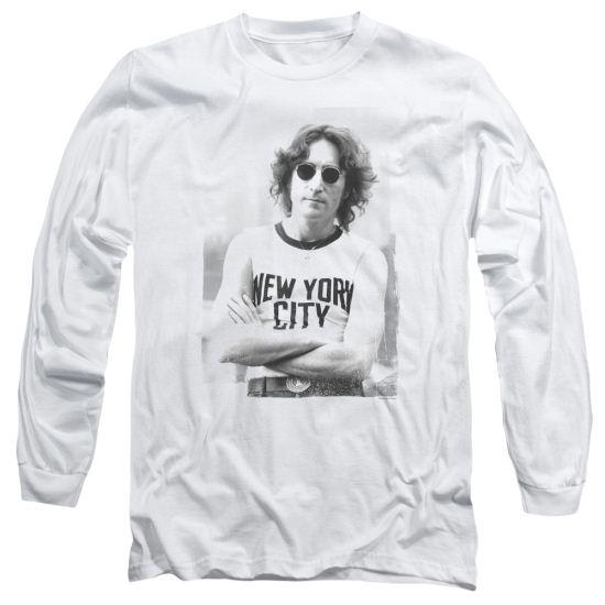 John Lennon Long Sleeve Shirt New York 1 White Tee T-Shirt