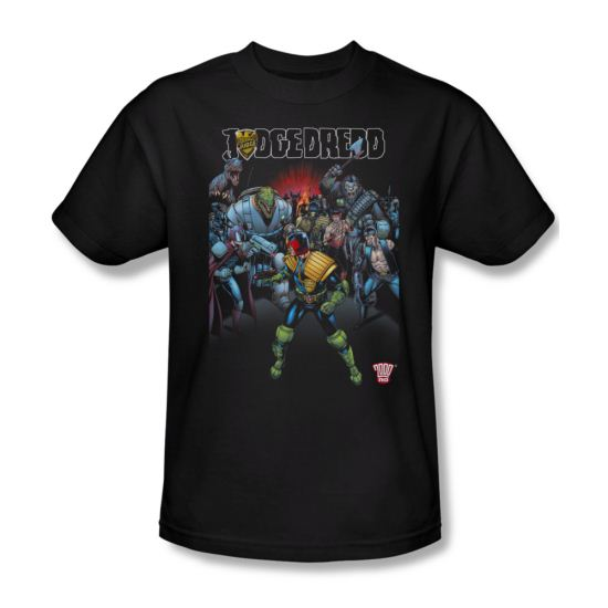 Judge Dredd Shirt Behind Him Black T-Shirt