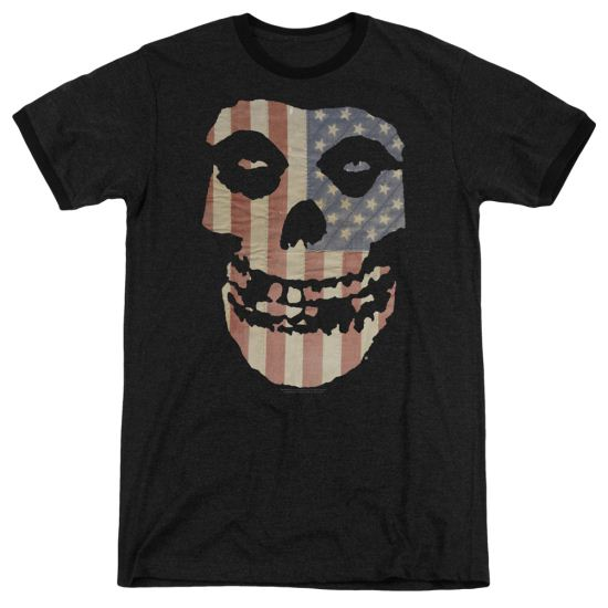 Misfits Fiend Flag 2 Black Ringer Shirt