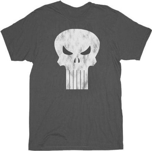 Punisher Charcoal Gray Distressed Logo T-shirt