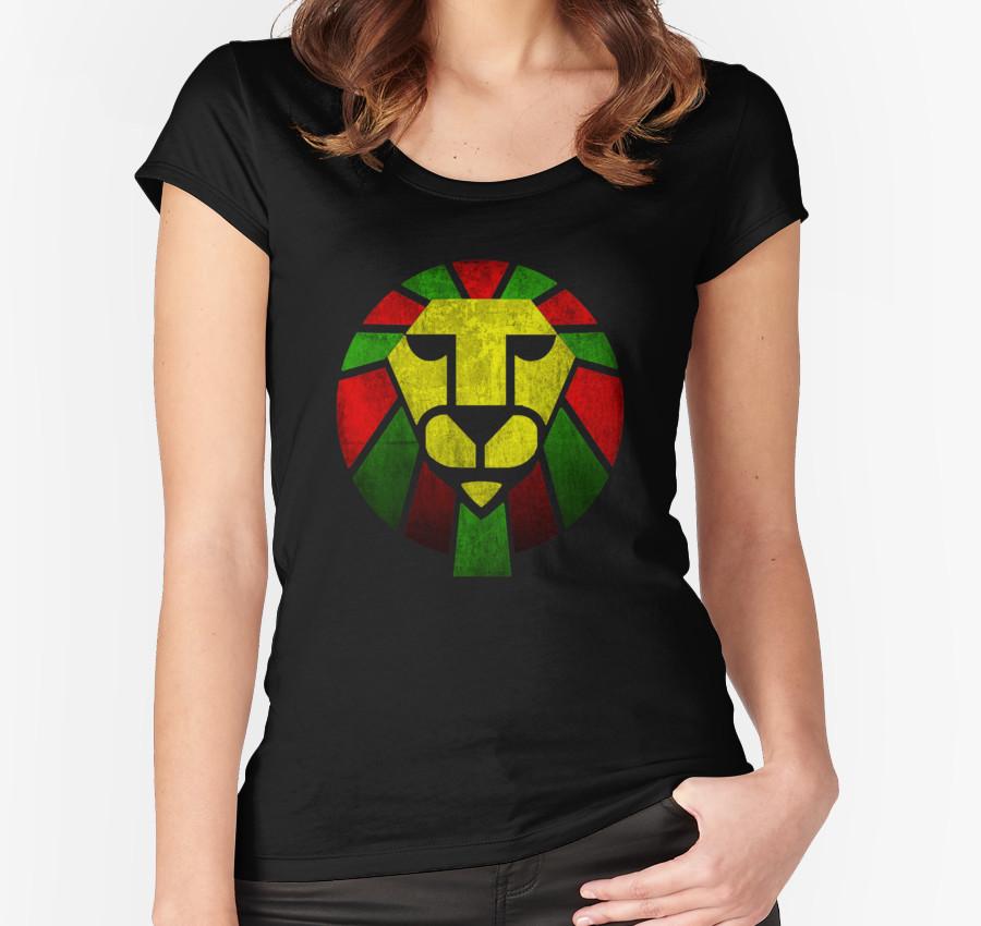Reggae Rasta Lion. Women's Fitted Scoop T-Shirt by tshirt3volution T-Shirt
