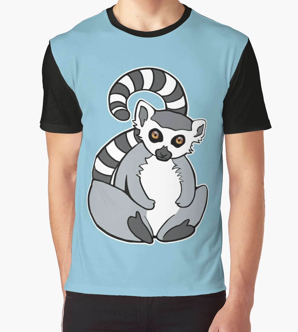 Sitting Ring-Tailed Lemur Graphic T-Shirt by Adrienn Ecsedi T-Shirt