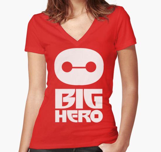 big hero Women's Fitted V-Neck T-Shirt by berjalan T-Shirt