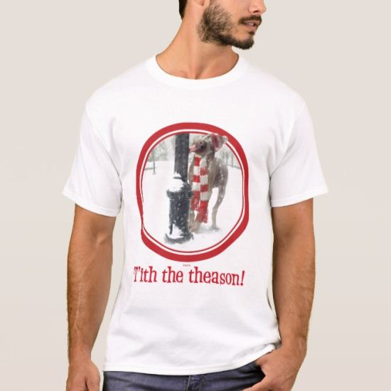 Funny Christmas Dog Licks Pole T-Shirt