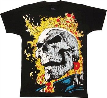 Marvel Comics Ghost Rider Huge Head T-Shirt Sheer