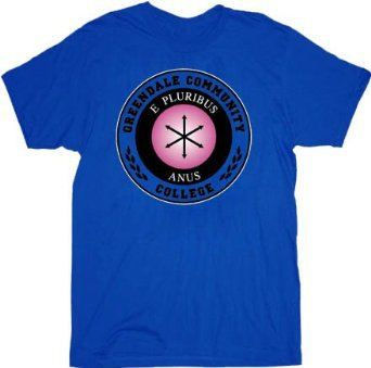 Community Greendale Community College E Pluribus Anus Blue Adult T-shirt