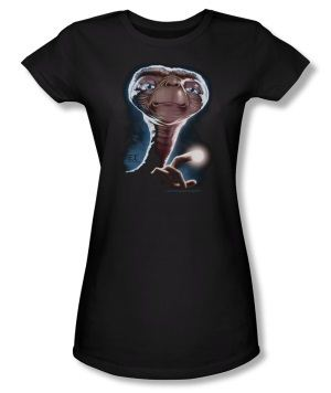 E.T. Extra Terrestrial Portrait Juniors Black T-shirt