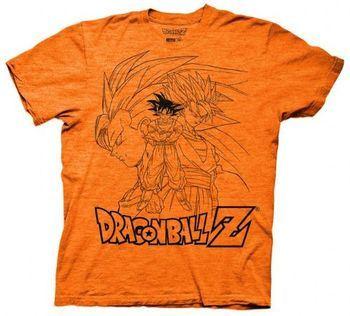 Dragonball Z Goku Collage Outline Adult Orange T-Shirt