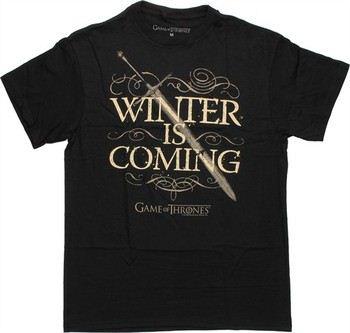 Game of Thrones Winter is Coming Diagonal Sword T-Shirt