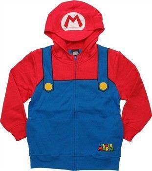 Nintendo Super Mario Visor Costume Full Zipper Hooded Youth Sweatshirt