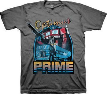 Transformers Optimus Prime Retro Adult Charcoal T-Shirt